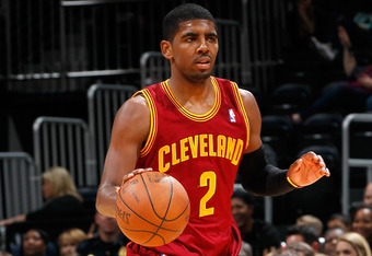 ATLANTA, GA - JANUARY 21:  Kyrie Irving #2 of the Cleveland Cavaliers drives the ball up the court against the Atlanta Hawks at Philips Arena on January 21, 2012 in Atlanta, Georgia.  NOTE TO USER: User expressly acknowledges and agrees that, by downloadi