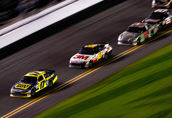 DAYTONA BEACH, FL - FEBRUARY 27:  Matt Kenseth, driver of the #17 Best Buy Ford, leads the field during the NASCAR Sprint Cup Series Daytona 500 at Daytona International Speedway on February 27, 2012 in Daytona Beach, Florida.  (Photo by Jonathan Ferrey/G