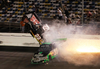 Joey Coulter flips into the catchfence at Daytona