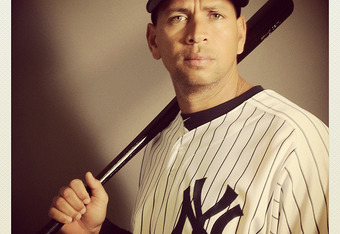 TAMPA, FL - FEBRUARY 27: (EDITOR'S NOTE: Image was shot with an iPhone using Instagram) Alex Rodriguez #13 of the New York Yankees poses for a portrait during the New York Yankees Photo Day on February 27, 2012 in Tampa, Florida.  (Photo by Nick Laham/Get