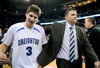 OMAHA, NE - FEBRUARY 18: Head coach Greg McDermott of the Creighton Bluejays and son Doug McDermott #3 of the Creighton Bluejays leave the court together after a last second win over the Long Beach State 49ers at CenturyLink Center February 18, 2012 in Om