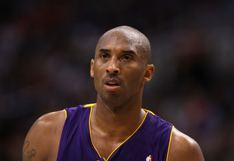 PHOENIX, AZ - FEBRUARY 19:  Kobe Bryant #24 of the Los Angeles Lakers during the NBA game against the Phoenix Suns at US Airways Center on February 19, 2012 in Phoenix, Arizona.  The Suns defeated the Lakers 102-90. NOTE TO USER: User expressly acknowledg