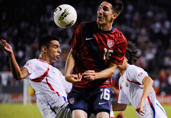 CARSON, CA - SEPTEMBER 02:  Sacha Kljestan #16 of the United States heads the ball agaimnst Costa Rica during the friendly soccer match at The Home Depot Center on September 2, 2011 in Carson, California.  Costa Rica defeated the United States, 1-0.  (Pho