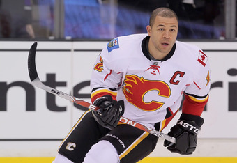 LOS ANGELES, CA - FEBRUARY 18:  Jarome Iginla #12 of the Calgary Flames skates prior to the start of the game against the Los Angeles Kings at Staples Center on February 18, 2012 in Los Angeles, California.  (Photo by Jeff Gross/Getty Images)