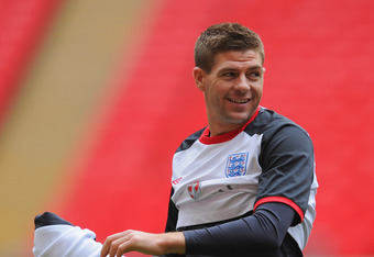 LONDON, ENGLAND - FEBRUARY 28: Steven Gerrard looks on during the England Training and Press Conference at Wembley Stadium on February 28, 2012 in London, England.  (Photo by Michael Regan/Getty Images)