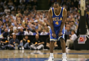 SAN JOSE, CA - MARCH 24:  Arron Afflalo #4 of the UCLA Bruins looks on during a free throw shot in the west regional final of the NCAA Men's Basketball Tournament against the Kansas Jayhawks at the HP Pavilion on March 24, 2007 in San Jose, California. Th