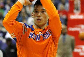 WASHINGTON, DC - FEBRUARY 08:  Jeremy Lin #17 of the New York Knicks warms up before the start of the Knicks and Washington Wizards game at Verizon Center on February 8, 2012 in Washington, DC.   NOTE TO USER: User expressly acknowledges and agrees that,