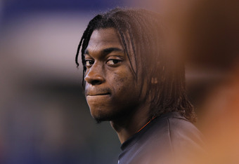 INDIANAPOLIS, IN - FEBRUARY 26: Quarterback Robert Griffin III of Baylor looks on during the 2012 NFL Combine at Lucas Oil Stadium on February 26, 2012 in Indianapolis, Indiana. (Photo by Joe Robbins/Getty Images)