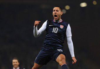 GENOA, ITALY - FEBRUARY 29:  Clint Dempsey of USA celebrates the opening goal during the international friendly match between Italy and USA at Luigi Ferraris Stadium on February 29, 2012 in Genoa, Italy.  (Photo by Valerio Pennicino/Getty Images)