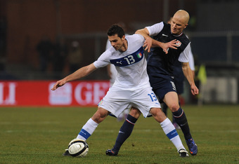 Michael Bradley (right) had a solid game for the USMNT against Italy.