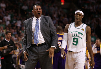 BOSTON - JUNE 08:  Head coach Doc Rivers and Rajon Rondo #9 of the Boston Celtics look on in the first half against the Los Angeles Lakers in Game Three of the 2010 NBA Finals on June 8, 2010 at TD Garden in Boston, Massachusetts. NOTE TO USER: User expre