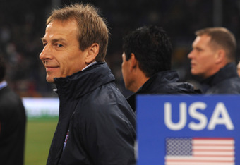 GENOA, ITALY - FEBRUARY 29:  USA head coach Jurgen Klinsmann looks on prior to the international friendly match between Italy and USA at Luigi Ferraris Stadium on February 29, 2012 in Genoa, Italy.  (Photo by Valerio Pennicino/Getty Images)