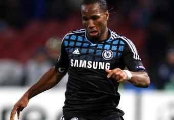 NAPLES, ITALY - FEBRUARY 21:  Didier Drogba of Chelsea FC in action during the UEFA Champions League round of 16 first leg match between SSC Napoli and Chelsea FC at Stadio San Paolo on February 21, 2012 in Naples, Italy.  (Photo by Paolo Bruno/Getty Imag