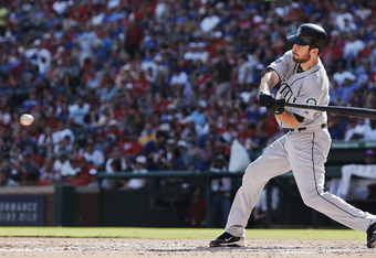 ARLINGTON, TX - SEPTEMBER 24: Dustin Ackley #13 of the Seattle Mariners bats against the Texas Rangers at Rangers Ballpark in Arlington on September 24, 2011 in Arlington, Texas. (Photo by Brandon Wade/Getty Images)