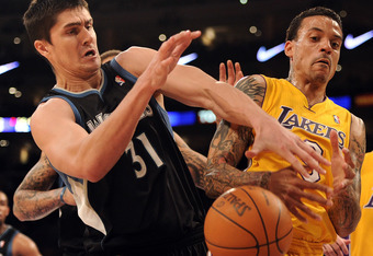 LOS ANGELES, CA - FEBRUARY 29:  Matt Barnes #9 of the Los Angeles Lakers and Darko Milicic #31 of the Minnesota Timberwolves battle for a rebound at Staples Center on February 29, 2012 in Los Angeles, California.  NOTE TO USER: User expressly acknowledges