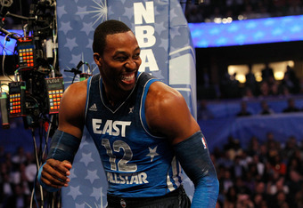 ORLANDO, FL - FEBRUARY 26:  Dwight Howard #12 of the Orlando Magic and the Eastern Conference laughs during the 2012 NBA All-Star Game at the Amway Center on February 26, 2012 in Orlando, Florida.  NOTE TO USER: User expressly acknowledges and agrees that