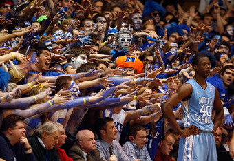 DURHAM, NC - FEBRUARY 09:  Harrison Barnes #40 of the North Carolina Tar Heels against the Duke Blue Devils during their game at Cameron Indoor Stadium on February 9, 2011 in Durham, North Carolina.  (Photo by Streeter Lecka/Getty Images)