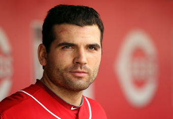 CINCINNATI, OH - AUGUST 14:  Joey Votto #19 of the Cincinnati Reds watches the action during the game against the San Diego Padres at Great American Ball Park on August 14, 2011 in Cincinnati, Ohio.  (Photo by Andy Lyons/Getty Images)