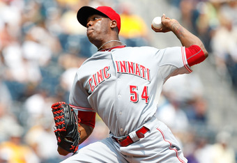 PITTSBURGH - JULY 20:  Aroldis Chapman #54 of the Cincinnati Reds pitches against the Pittsburgh Pirates during the game on July 20, 2011 at PNC Park in Pittsburgh, Pennsylvania.  (Photo by Jared Wickerham/Getty Images)