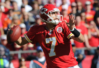 KANSAS CITY, MO - NOVEMBER 13:  Quarterback Matt Cassel #7 of the Kansas City Chiefs throws a pass down field against the Denver Broncos on November 13, 2011 during the first half at Arrowhead Stadium in Kansas City, Missouri.  (Photo by Peter Aiken/Getty