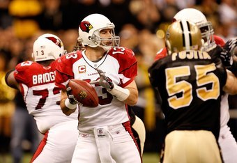 Kurt Warner's NFL career ended with an injury against the Saints.