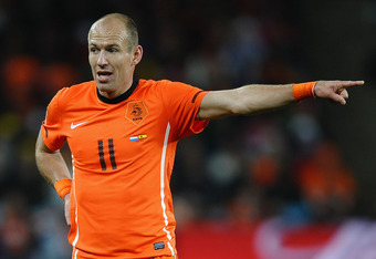 JOHANNESBURG, SOUTH AFRICA - JULY 11:  Arjen Robben of the Netherlands gestures during the 2010 FIFA World Cup South Africa Final match between Netherlands and Spain at Soccer City Stadium on July 11, 2010 in Johannesburg, South Africa.  (Photo by Laurenc
