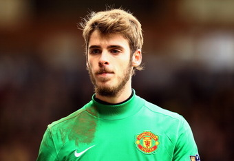 NORWICH, ENGLAND - FEBRUARY 26:  David De Gea of Manchester United looks on during the Barclays Premier League match between Norwich City and Manchester United at Carrow Road on February 26, 2012 in Norwich, England.  (Photo by Bryn Lennon/Getty Images)