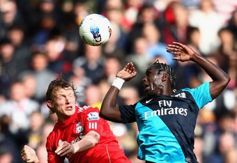 Sagna helped Arsenal to their first goal.
