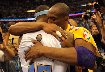 Kobe Bryant shows love to Carmelo Anthony after the Lakers eliminate the Nuggets in 2009.