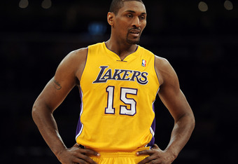 LOS ANGELES, CA - FEBRUARY 20:  Metta World Peace #15 of the Los Angeles Lakers during the game against the Portland Trail Blazers at Staples Center on February 20, 2012 in Los Angeles, California.  NOTE TO USER: User expressly acknowledges and agrees tha
