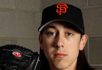 SCOTTSDALE, AZ - MARCH 01:  Pitcher Tim Lincecum #55 of the San Francisco Giants poses during spring training photo day on March 1, 2012 in Scottsdale, Arizona.  (Photo by Jamie Squire/Getty Images)