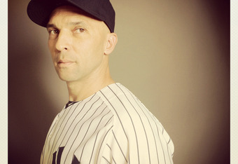 TAMPA, FL - FEBRUARY 27: (EDITOR'S NOTE: Image was shot with an iPhone using Instagram) Raul Ibanez of the New York Yankees poses for a portrait during the New York Yankees Photo Day on February 27, 2012 in Tampa, Florida.  (Photo by Nick Laham/Getty Imag