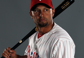 CLEARWATER, FL - MARCH 01:  Shane Victorino #8 of the Philadelphia Philles poses for a portrait at the Bright House Field on March 1, 2012 in Clearwater, Florida  (Photo by Jonathan Ferrey/Getty Images)
