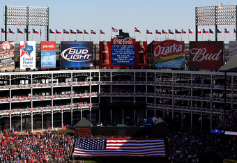 ARLINGTON, TX - SEPTEMBER 30:  A general view during player the national anthem before Game One of the American League Division Series between the Texas Rangers and the Tampa Bay Rays at Rangers Ballpark in Arlington on September 30, 2011 in Arlington, Te