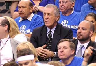 DALLAS, TX - JUNE 05:  Team President Pat Riley of the Miami Heat watches from the stands as the Heat play against the Dallas Mavericks in Game Three of the 2011 NBA Finals at American Airlines Center on June 5, 2011 in Dallas, Texas.  NOTE TO USER: User
