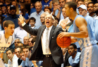 DURHAM, NC - MARCH 03:  Head coach Roy Williams of the North Carolina Tar Heels yells to his team during their game against the Duke Blue Devils at Cameron Indoor Stadium on March 3, 2012 in Durham, North Carolina.  (Photo by Streeter Lecka/Getty Images)