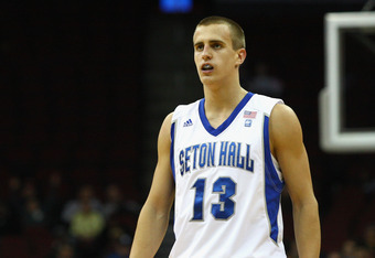 NEWARK, NJ - DECEMBER 02:  Haralds Karlis #13 of the Seton Hall Pirates looks on against the Auburn Tigers at Prudential Center on December 2, 2011 in Newark, New Jersey.  (Photo by Chris Chambers/Getty Images)