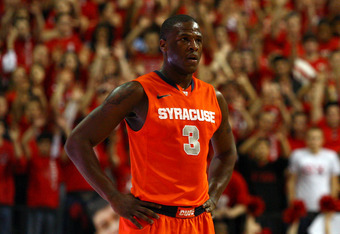 NEW BRUNSWICK, NJ - FEBRUARY 19:  Dion Waiters #3 of the Syracuse Orange looks on against the Rutgers Scarlet Knights at Louis Brown Athletic Center on February 19, 2012 in New Brunswick, New Jersey.  (Photo by Chris Chambers/Getty Images)