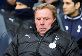 LONDON, ENGLAND - MARCH 04:  Tottenham Hotspur manager Harry Redknapp looks on ahead of the Barclays Premier League match between Tottenham Hotspur and Manchester United at White Hart Lane on March 4, 2012 in London, England.  (Photo by Mike Hewitt/Getty
