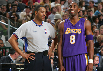 Lakers guard Kobe Bryant and NBA official Bennie Adams during happier, non-homophobic slur times (2005)