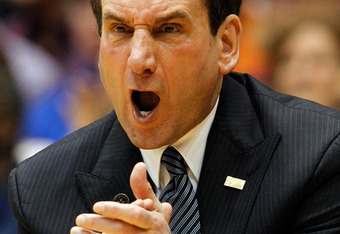 DURHAM, NC - MARCH 03:  Head coach Mike Krzyzewski of the Duke Blue Devils yells to his team during their game against the North Carolina Tar Heels at Cameron Indoor Stadium on March 3, 2012 in Durham, North Carolina.  (Photo by Streeter Lecka/Getty Image