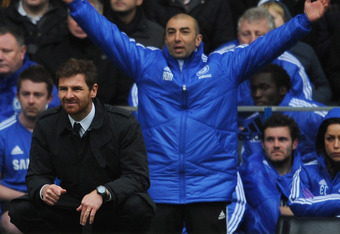 LONDON, ENGLAND - FEBRUARY 18:  Andre Villas-Boas, manager of Chelsea looks on with assistant Roberto Di Matteo during the FA Cup with Budweiser Fifth Round match between Chelsea and Birmingham City at Stamford Bridge on February 18, 2012 in London, Engla