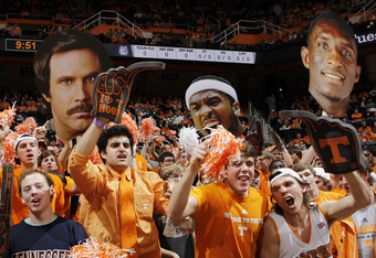 KNOXVILLE, TN - JANUARY 21: Tennessee Volunteers fans cheer during the game against the Connecticut Huskies at Thompson-Boling Arena on January 21, 2012 in Knoxville, Tennessee. Tennessee defeated Connecticut 60-57. (Photo by Joe Robbins/Getty Images)