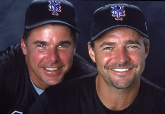 28 Feb 2001:  Mark Leiter #23 and Al Leiter #22 of the New York Mets(L-R) pose for a studio portrait during Spring Training at Thomas J. White Stadium in Port St. Lucie, Florida.Mandatory Credit: Matthew Stockman  /Allsport