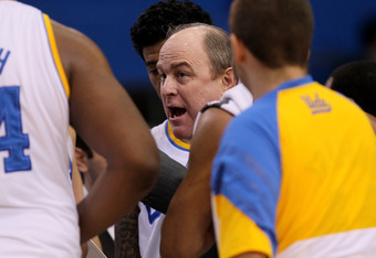 LOS ANGELES, CA - MARCH 01: Head coach Ben Howland of the UCLA Bruins talks to his team during a time out in the game with the Washington State Cougars at the LA Sports Arena on March 1, 2012 in Los Angeles, California.  (Photo by Stephen Dunn/Getty Image