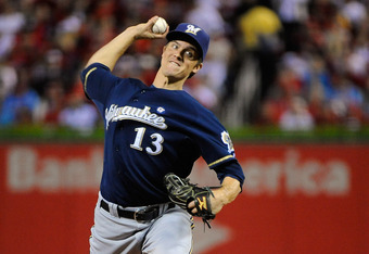 ST LOUIS, MO - OCTOBER 14:  Zack Greinke #13 of the Milwaukee Brewers throws apitch aginst the St. Louis Cardinals  during Game Five of the National League Championship Series at Busch Stadium on October 14, 2011 in St Louis, Missouri.  (Photo by Pool/Get
