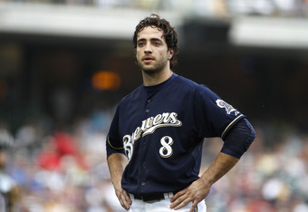 MILWAUKEE, WI - SEPTEMBER 1:  Ryan Braun #8 of the Milwaukee Brewers pauses on the field after  flying out in the 9th inning during their game against the St Louis Cardinals at Miller Park on September 1, 2011 in Milwaukee, Wisconsin. The Cardinals beat t