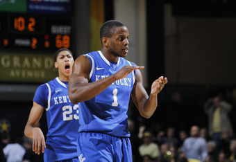 NASHVILLE, TN - FEBRUARY 11: Darius Miller #1 and Anthony Davis #23 of the Kentucky Wildcats celebrate after the game against the Vanderbilt Commodores at Memorial Gymnasium on February 11, 2012 in Nashville, Tennessee. Kentucky won 69-63. (Photo by Joe R