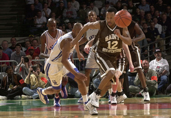 16 Mar 2000: Ernest ''J.R.'' Bremer #12 of the St. Bonaventure Bonnies steals the ball from Keith Bogans #10 of the Kentucky Wildcats as the Wildcats defeated the Bonnies 85-80 in triple overtime in round one of the Midwest Region of the 2000 NCAA Men''s