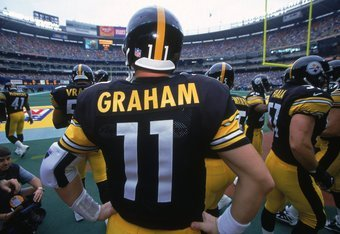 15 Oct 2000:  A shot of Kent Graham #11 of the Pittsburgh Steelers from behind as he looks on during the game against the Cincinnati Bengals at the Three Rivers Stadium in Pittsburgh, Pennsylvaina. The Steelers defeated the Bengals 15-0.Mandatory Credit: